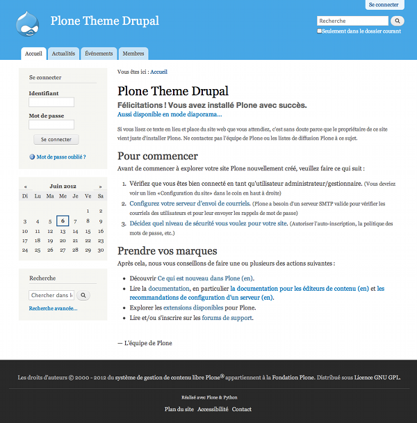Plone Theme Drupal Screenshot